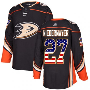Authentic Adidas Men's Scott Niedermayer Anaheim Ducks USA Flag Fashion Jersey - Black