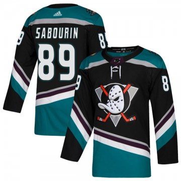 Authentic Adidas Men's Scott Sabourin Anaheim Ducks Teal Alternate Jersey - Black